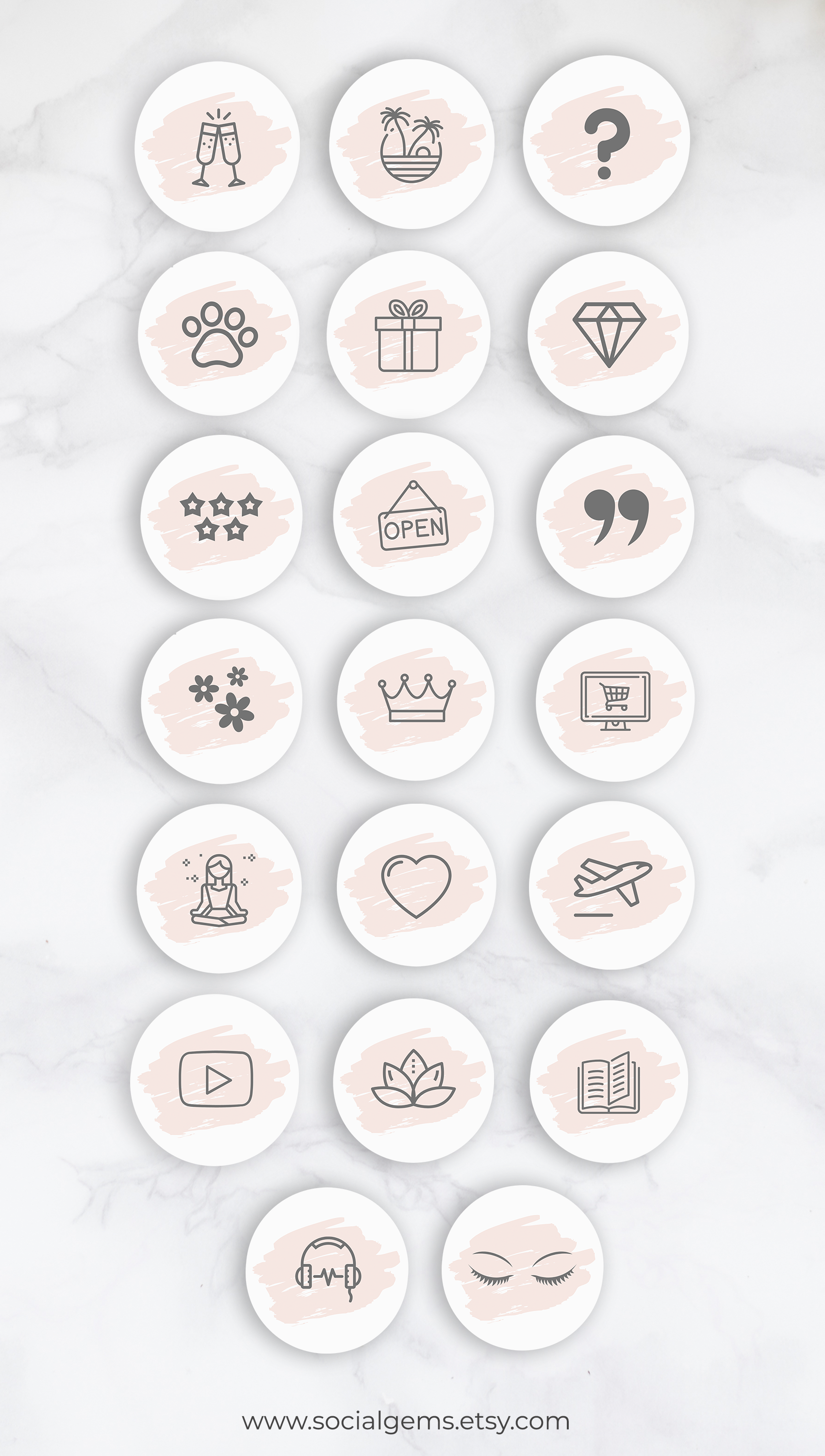 Instagram Story Highlight Icons Highlight Covers for Canva