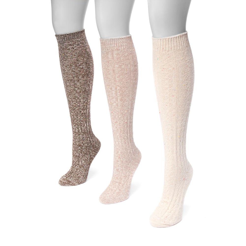 MUK LUKS Womens 3-Pair Pack Marl Knee High Sock