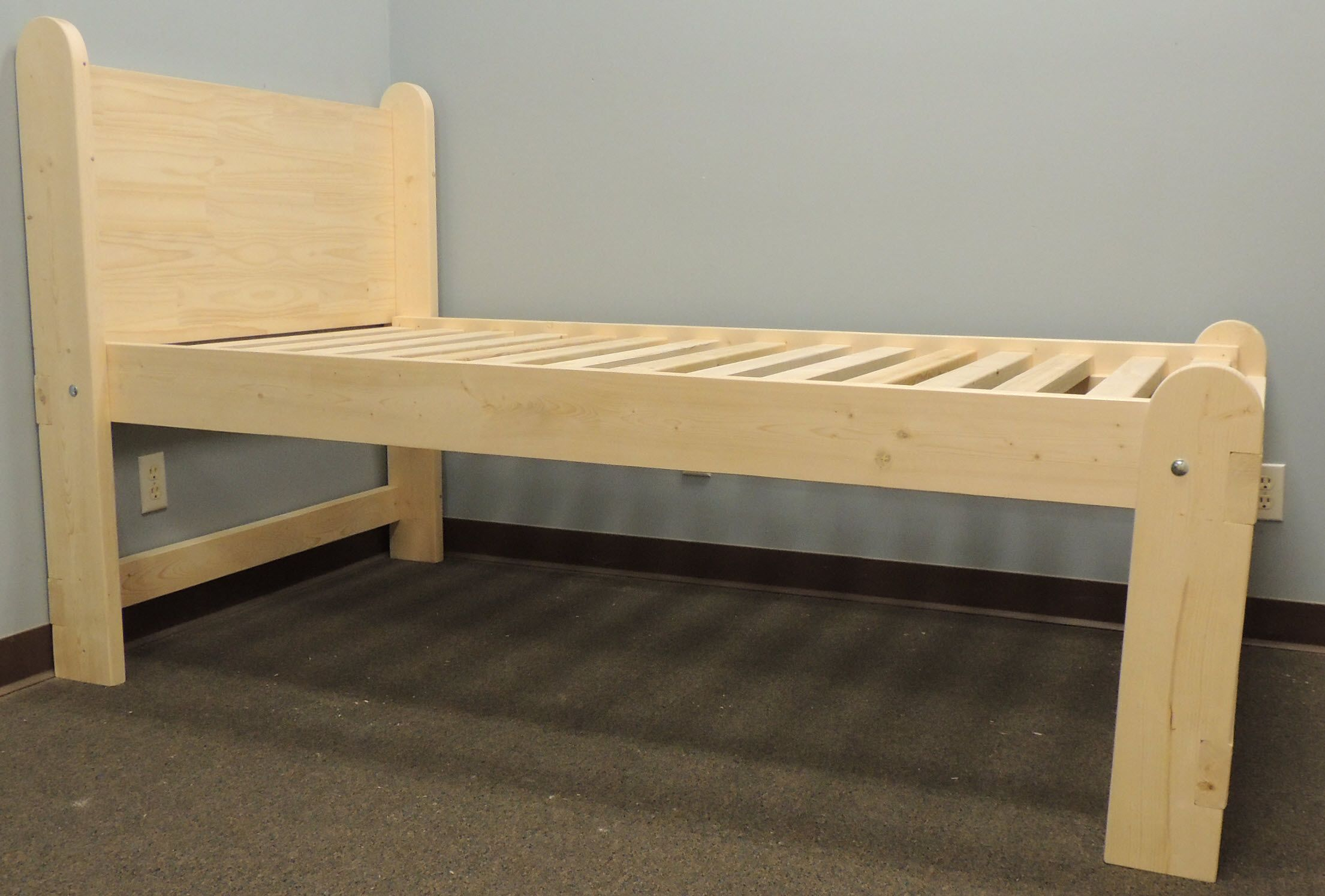 High Rise Bed with Solid Pine Headboard. Junior loft