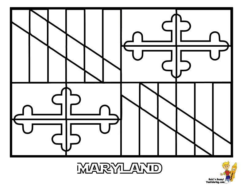 Print Out This Maryland State Flag Coloring Page! Now Collect The