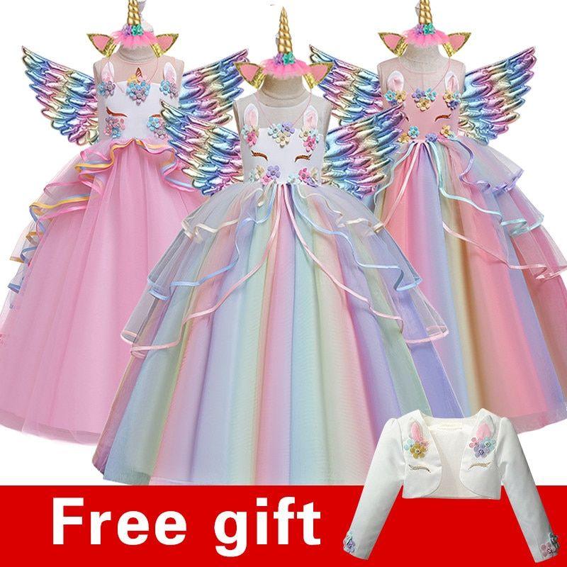 Vestido De Noche De Cumpleanos Para Ninos Vestido De Boda Para Ninas De 4 A 14 Anos Apliques Bordados Vestido Largo De Unicornio Envio De Regalo De Navidad En 2020 Vestidos