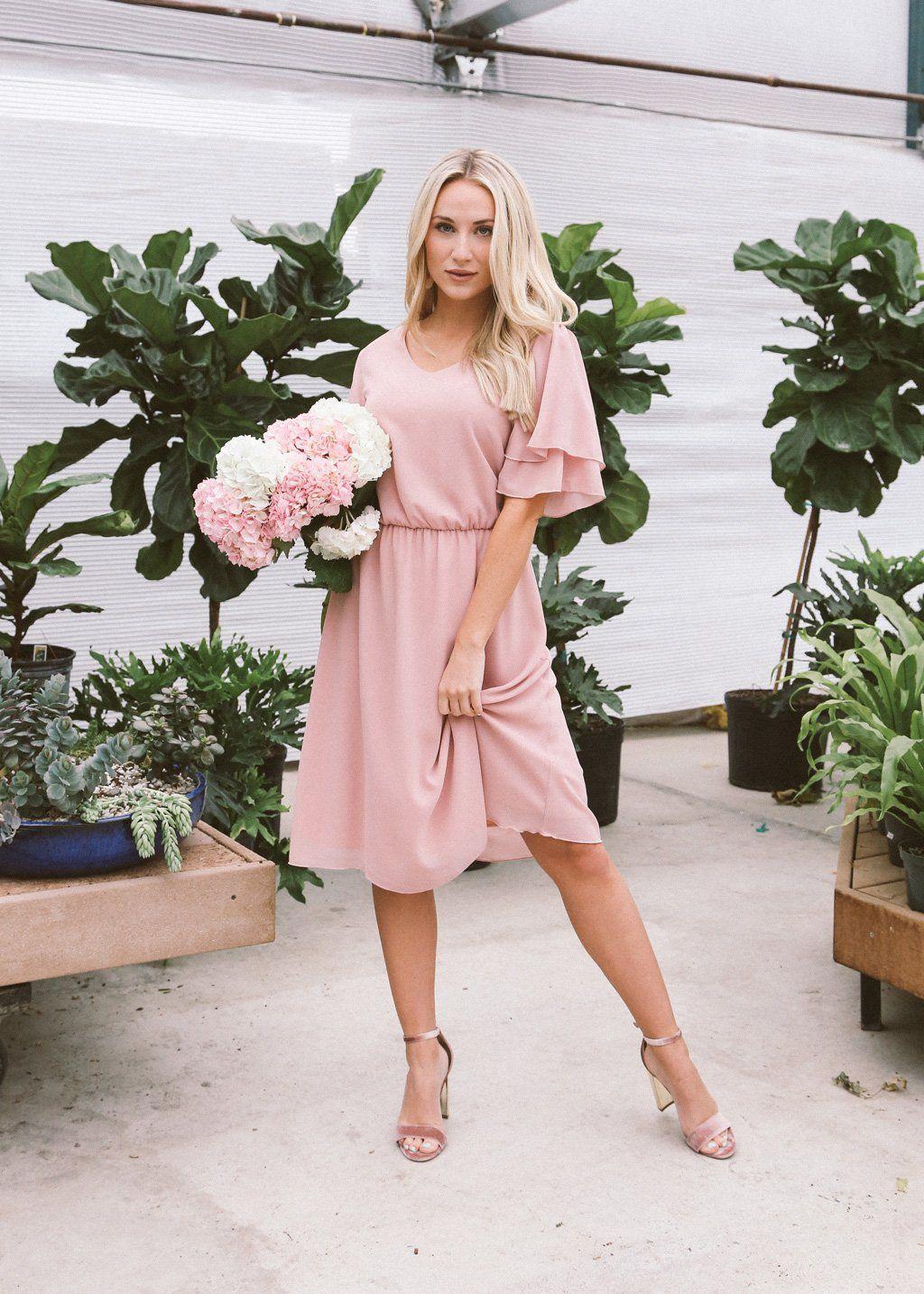 Frances Chiffon Dress in Mauve, Spring wedding, Bridesmaid ...