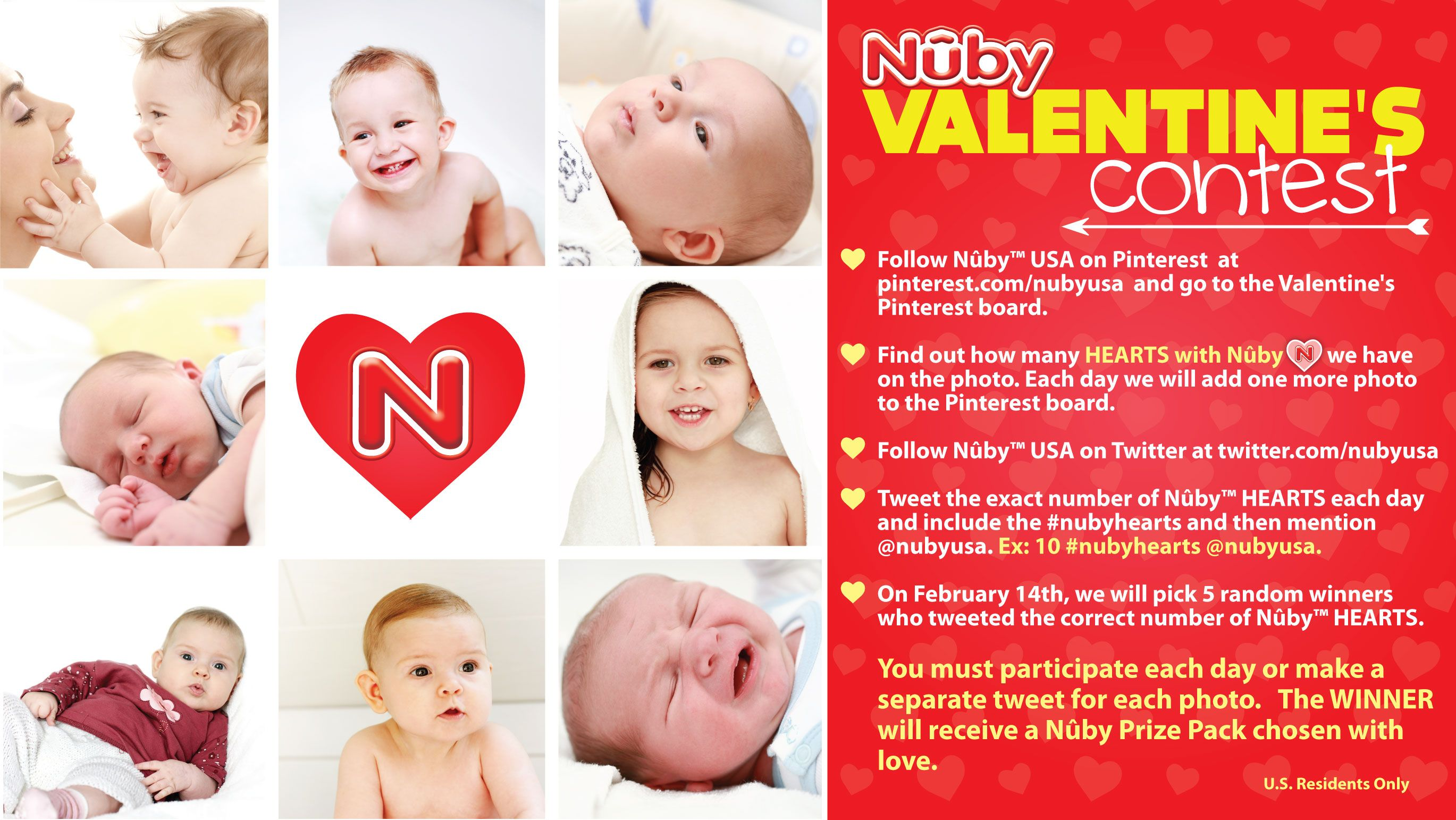 Nuby Valentine's Contest! Follow www.pinterest.com/nubyusa See photo for instructions on how to enter for a chance to WIN a Nuby Prize Pack! Five winners will be announced on Thursday, February 14th!  Thanks & Good Luck, Nuby_Vanessa