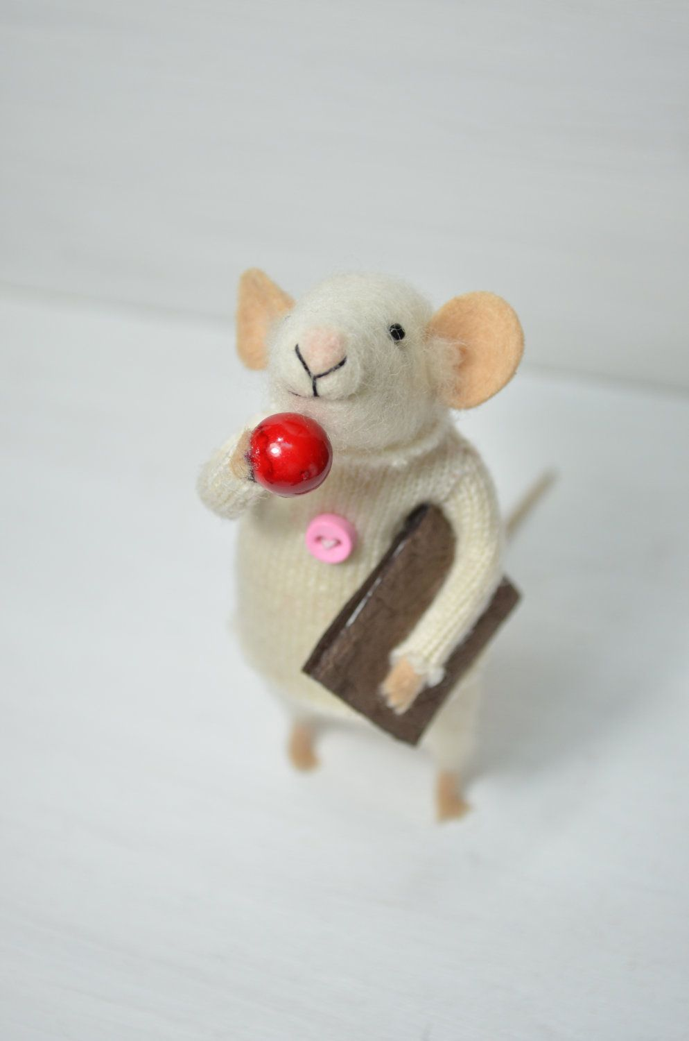 Little Reader Mouse - unique - needle felted ornament animal, felting dreams made to order. $68.00, via Etsy. Okay, not a bear, but still.