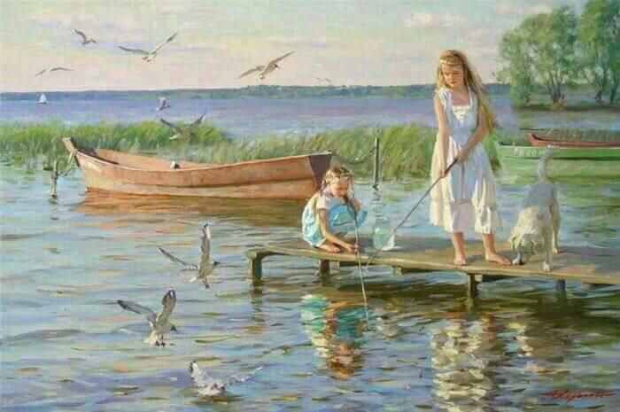 Happy sisters time… Alexander Averin - Painter From Russia