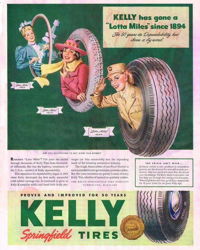 Kelly/'s Old Car Tyre Advertising Poster reproduction