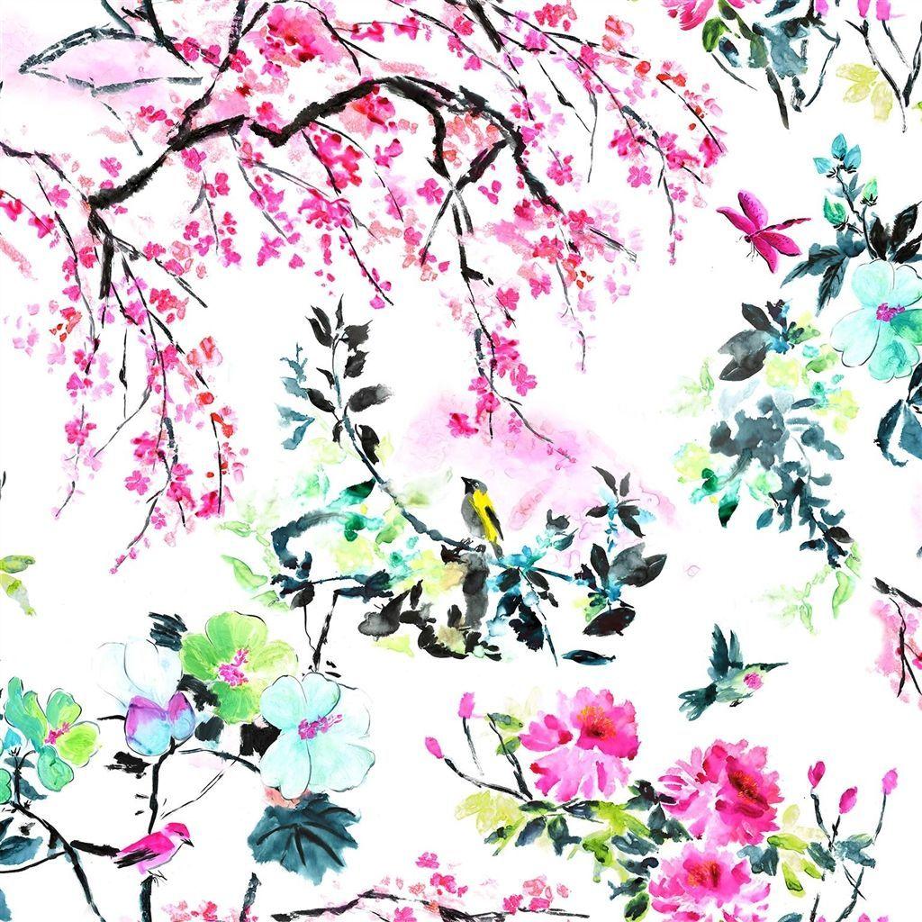 chinoiserie flower peony fabric Designers Guild