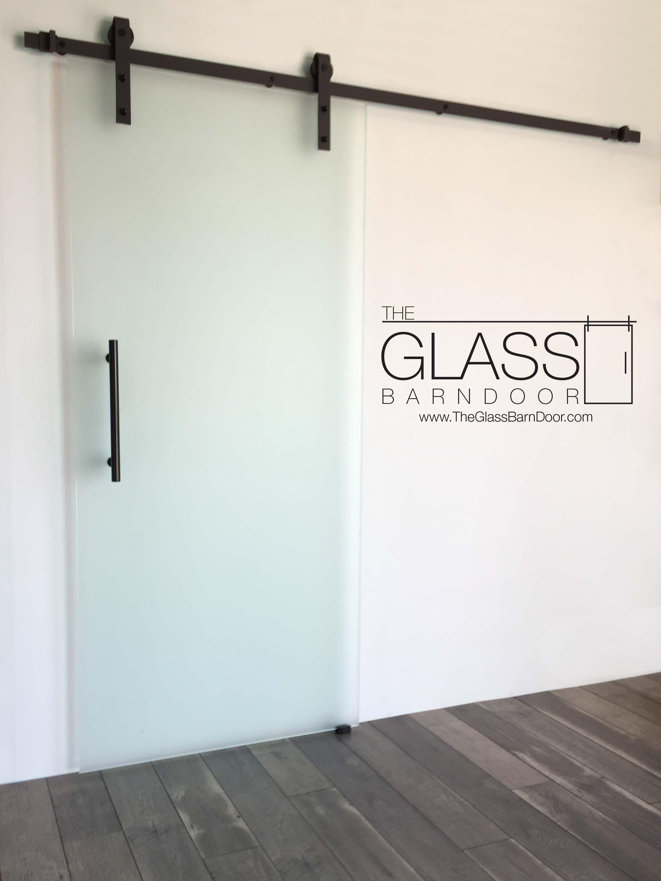 Black Industrial Frameless Single Glass Barn Doors Frosted