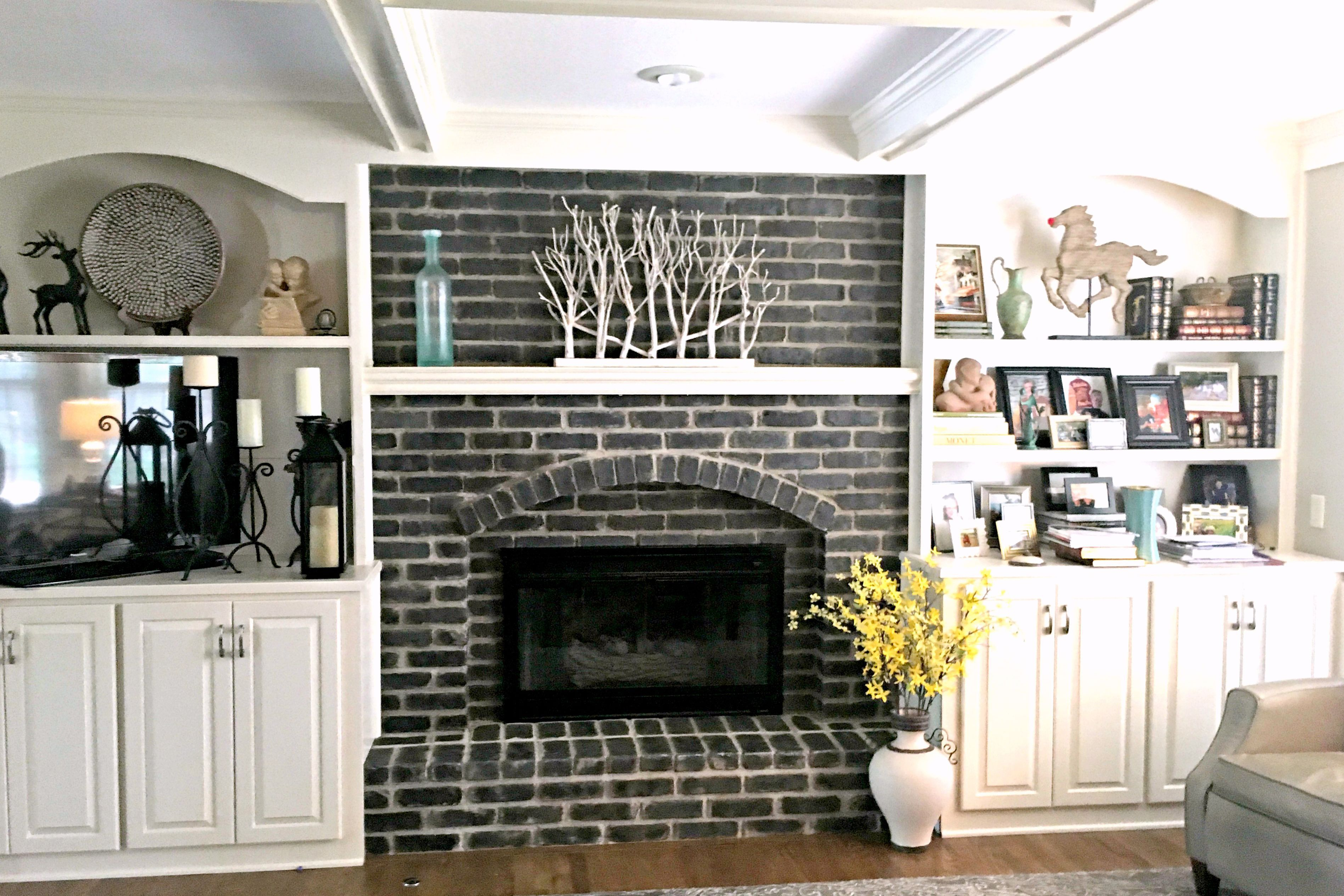 Image result for painted brick fireplace fireplace in