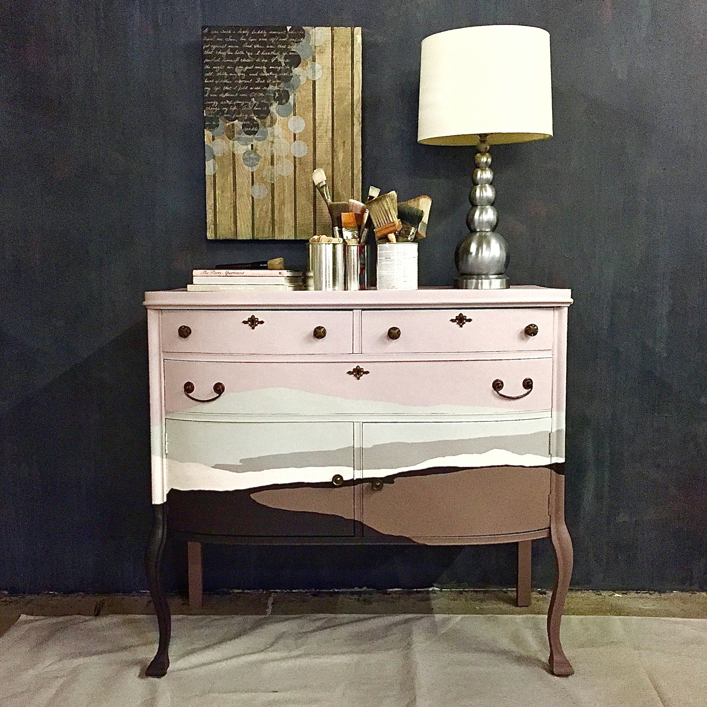 Shannon Kaye Painted Her Signature Torn Landscape Mural Motif On A Beautiful Dresser With Acrylic Paints