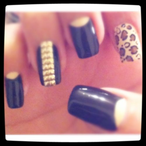 #black #studs #tan #cheetah #nails They Are LOVED <3