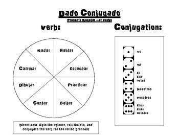 Spanish Verb Conjugation Game- Regular Present Ar Verbs- Dado ...