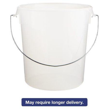 Rubbermaid Commercial Round Storage Containers, w/Bail, 22qt, 13 1/8dia x 14h, Clear