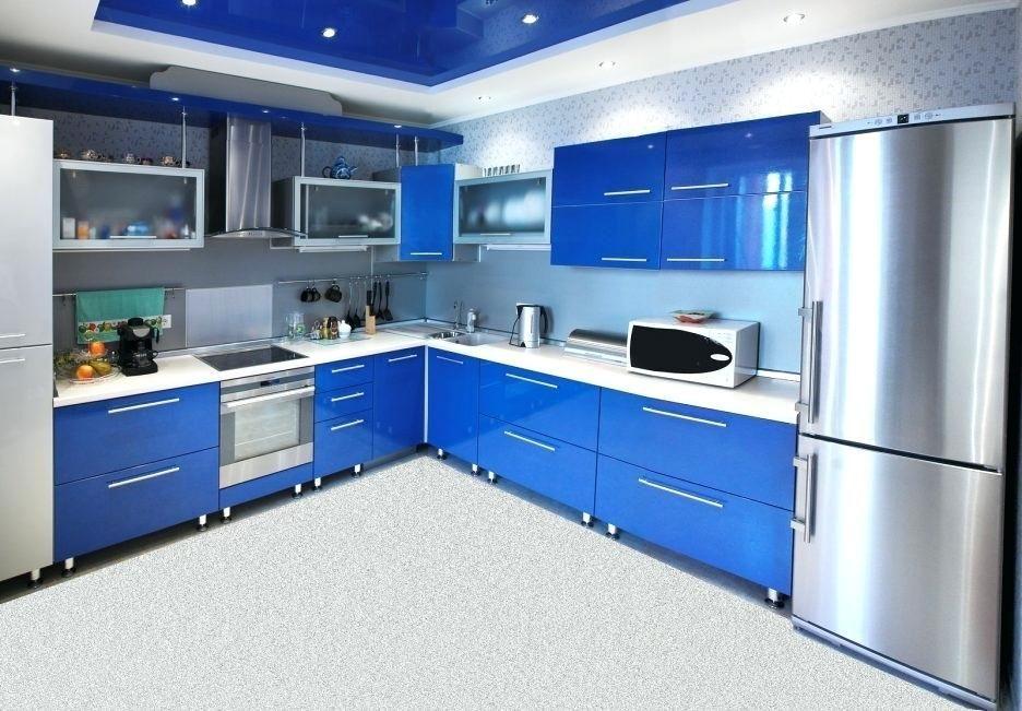Kitchen Cabinet Door Decals Modern Vintage Liances Blue High Gloss Wood Stainless Steel