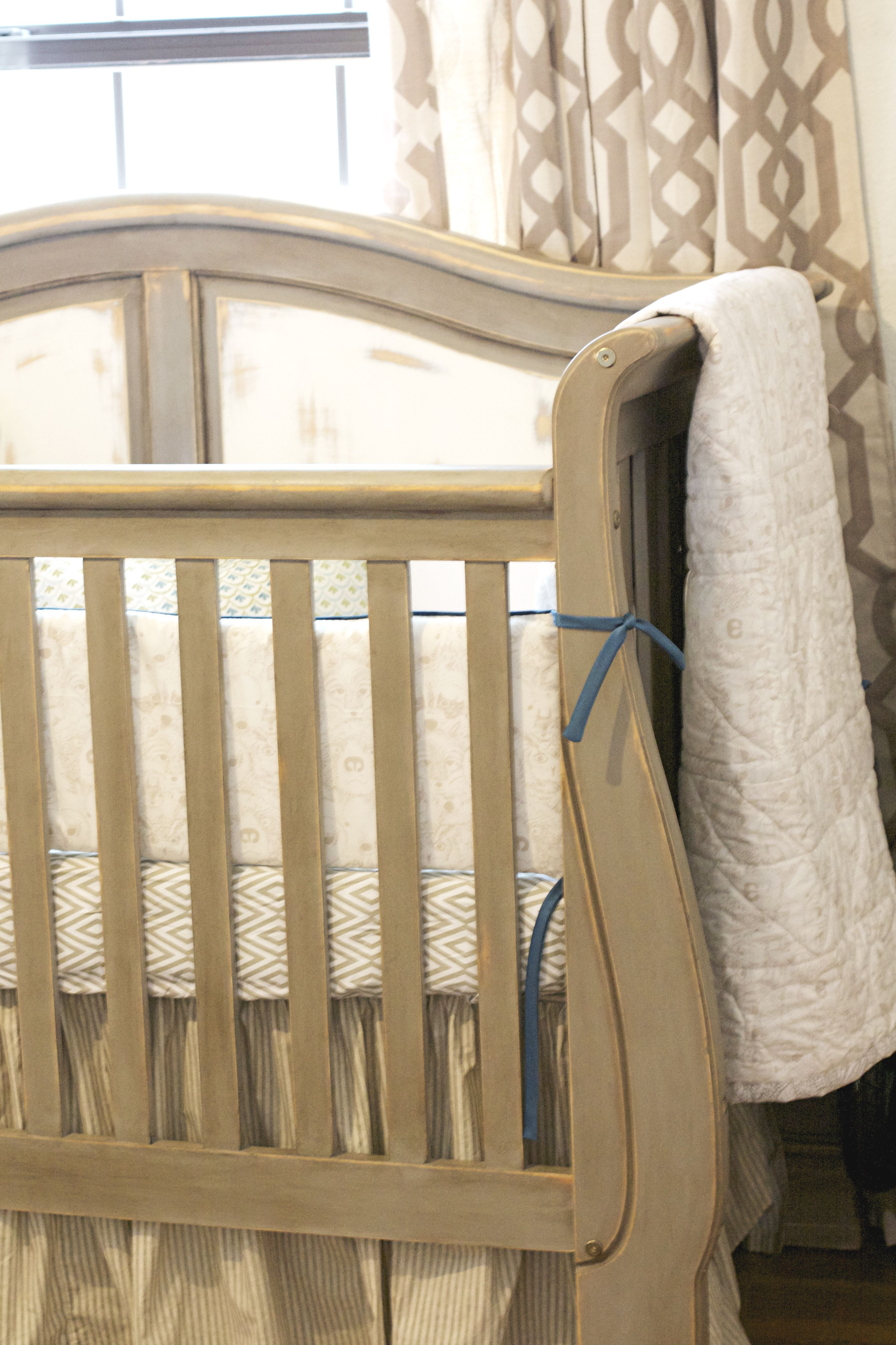 Brookfield fixed gate crib for sale - Vintage Rustic Country Nursery Crib Is Painted In Annie Sloan Chalk Paint French Linen