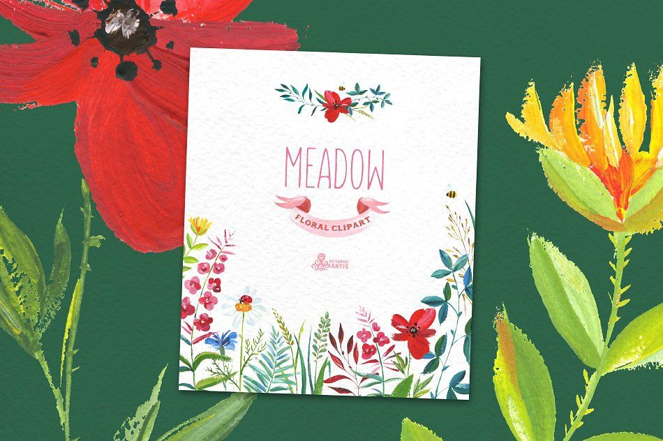 Meadow. Floral clipart by OctopusArtis on @creativemarket