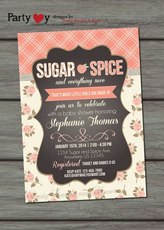 baby shower invitation, sugar and spice baby shower invitation, Baby shower invitations