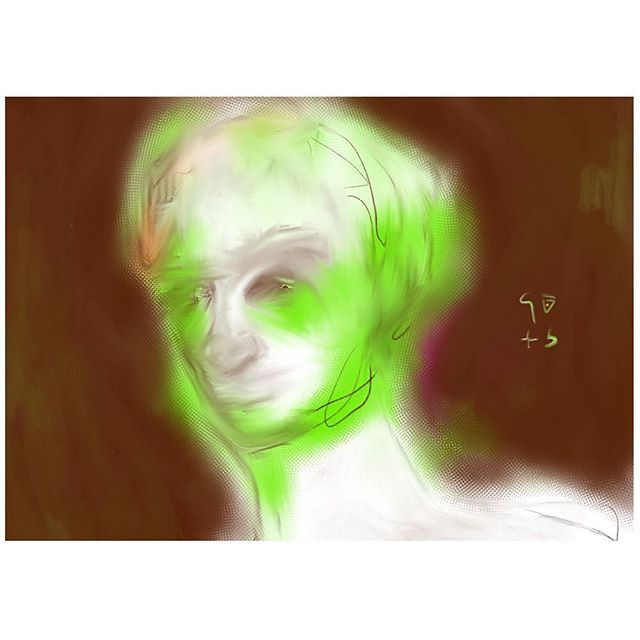"""Zeitgeist"", 2015 - acid green, muddy brown, blurry face - eyes beyond keep looking at u... A lost and dangerous ghost. ⠀ ⠀ #zeitgeist #face #digitalart #contemporaryart #abstract #absctractart #design #painting #artist #artcologne #art #acryl #kölnkunst #malerei #sketch #arte #artwork #contemporary_art #contemporarycurator #artgallerie #drawing #procreate #procreateapp #digitalart"