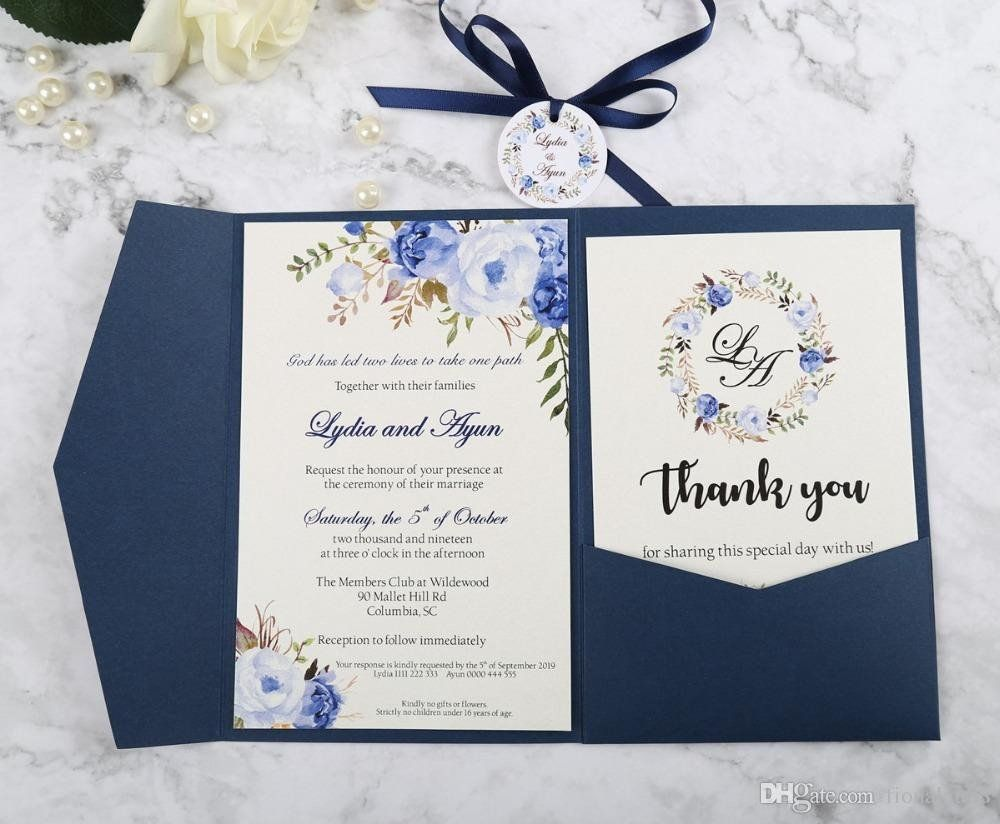 Wedding Invitation Pocket Envelopes Elegant New Arrival Blue Trifold Pocket Coral Wedding Invitations Wedding Invitation Online Rsvp Wedding Invitation Ribbon