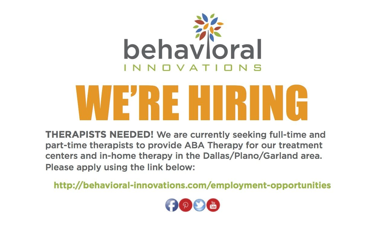 We're looking for fulltime and parttime therapists to