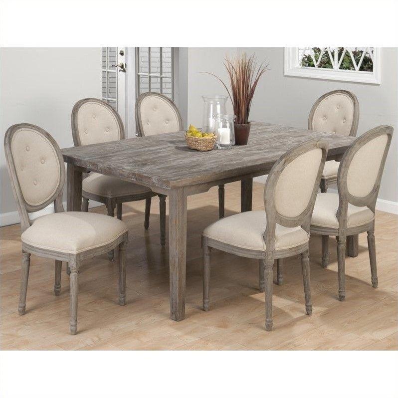 Jofran Solid Oak Rectangular Leg Dining Table In Burnt Grey Grey