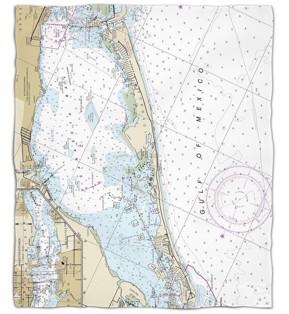 Longboat Key Florida Map.Fl Longboat Key Fl Nautical Chart Silk Touch Throw Blanket Maps