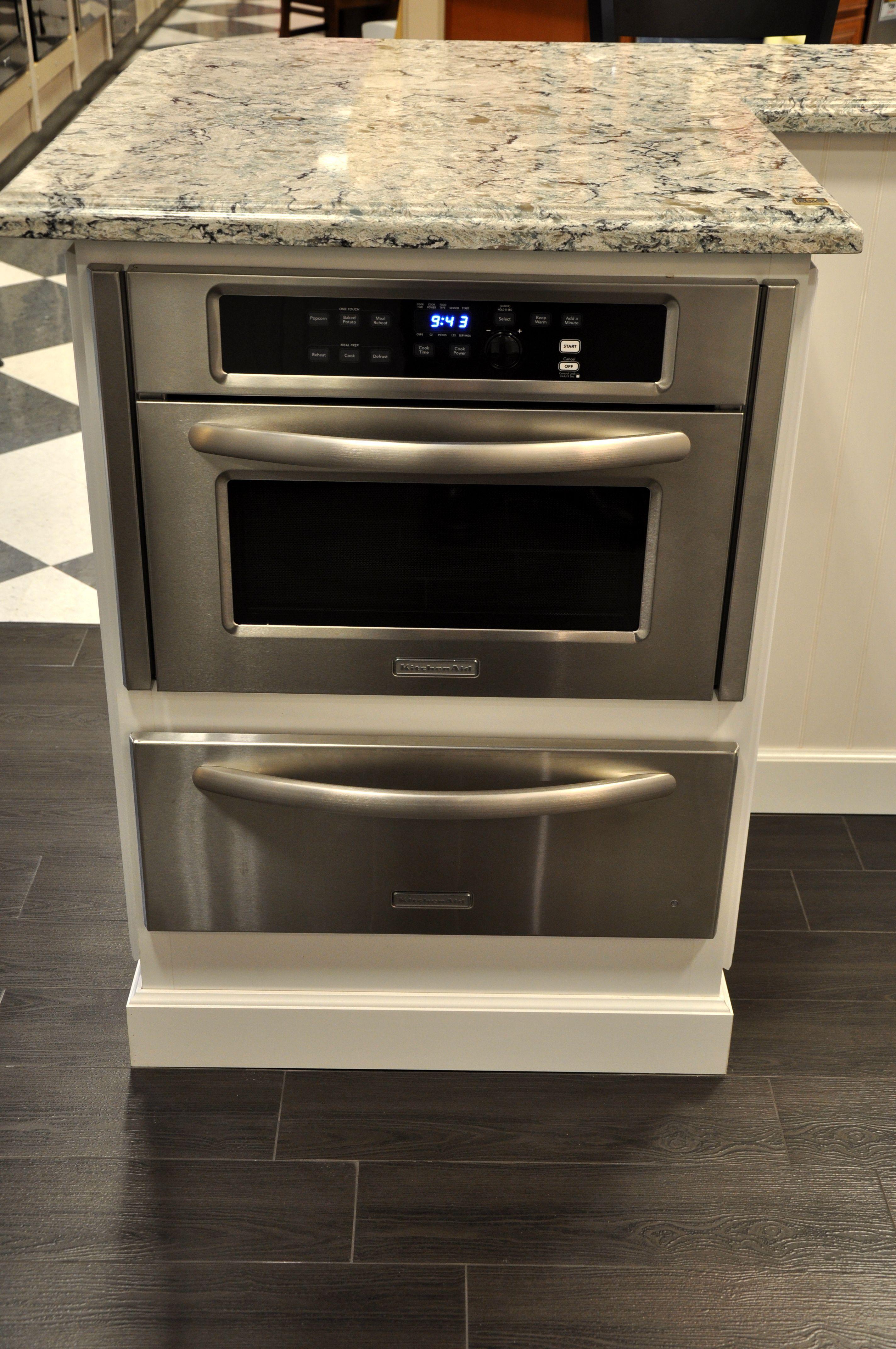 Kitchenaid Mircowave With Slow Cook Warming Drawer Below Built In Microwave Cabinet Outdoor Kitchen Appliances Kitchen Island Design