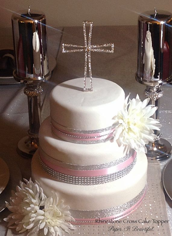 Rhinestone Cross Cake Topper For Communions Or Weddings