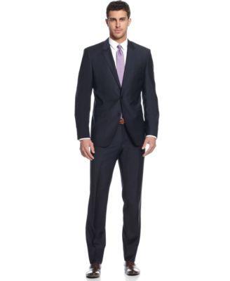 BOSS HUGO BOSS Navy Solid Trim-Fit Suit  | macys.com