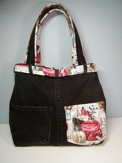 "Photo of Recycle #5: ""By Sea"" Jeans Handbag"