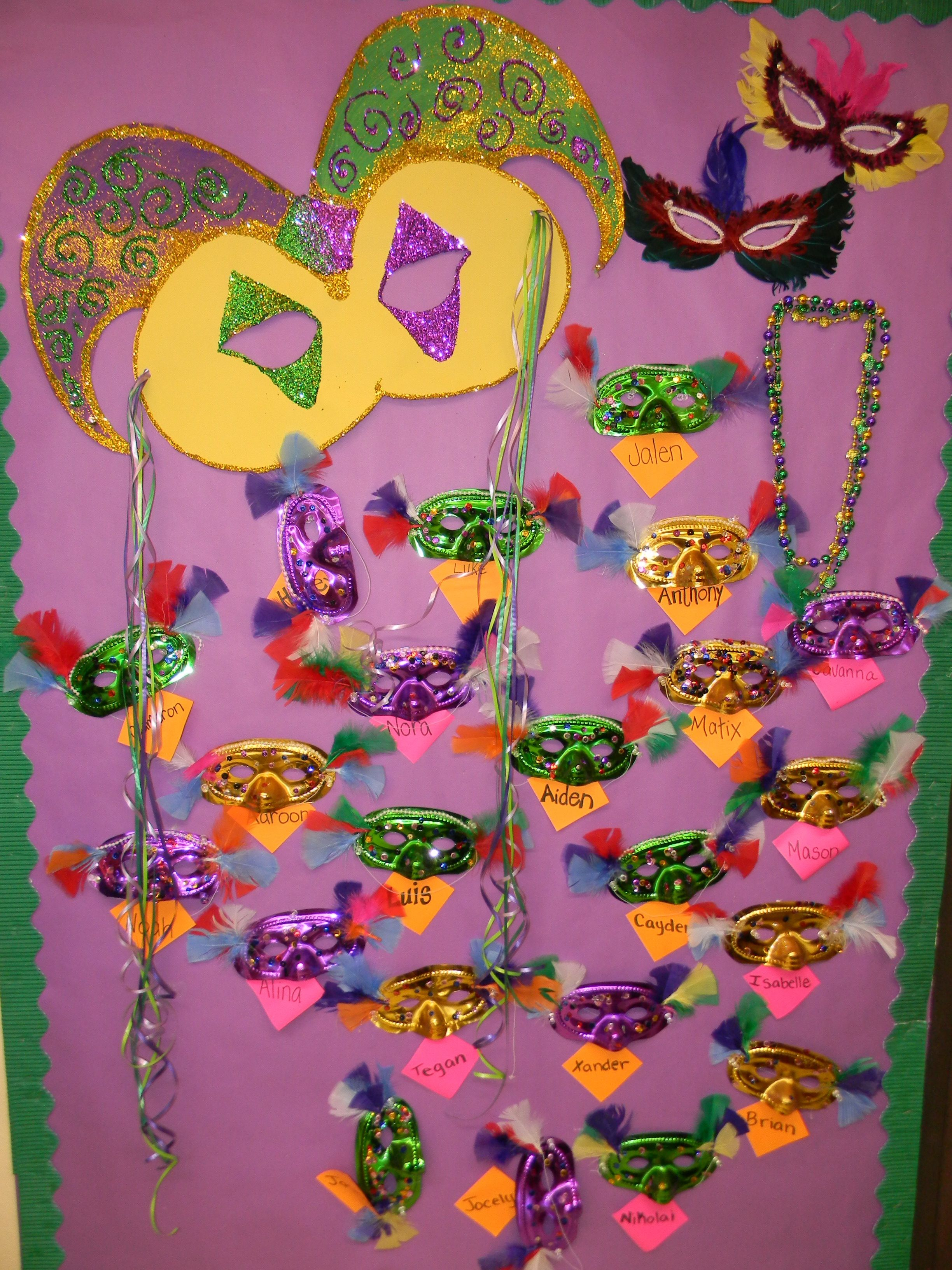 Mardi Gras Preschool Bulletin Board