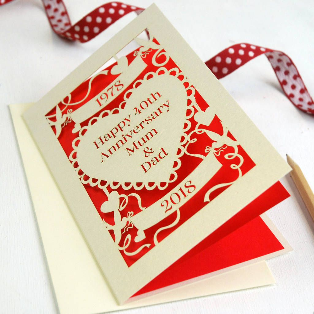 Personalised Papercut Ruby Wedding Anniversary Card In 2020