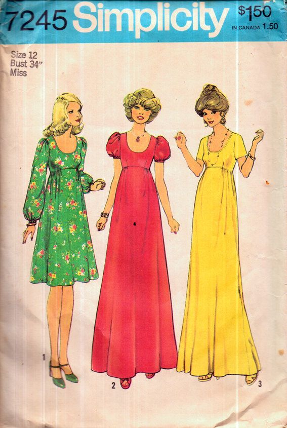 Genuine Vintage 1070s SIMPLICITY 7245 Stunningly Gorgeous Ladies \'3 ...