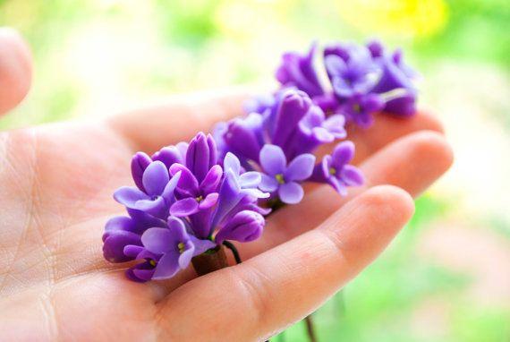 Purple Flower Hair Pin Lilac Purple Hair Flower Accessory Purple Wedding Hair Pins Set Bridal Hair Pin Purple Lilac Hair Pin Purple Hair Pin