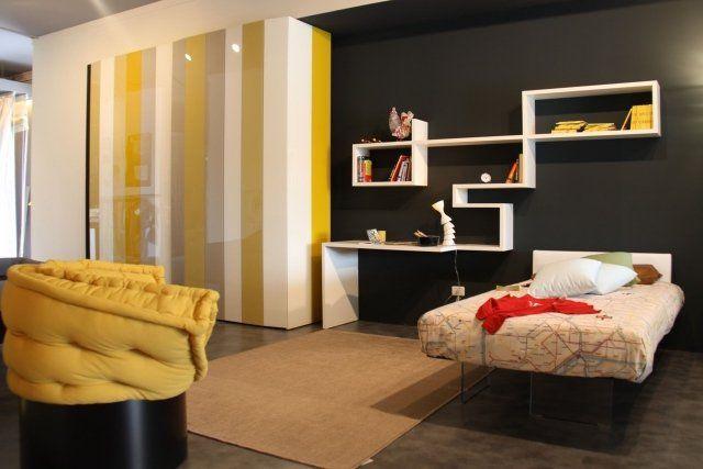 Déco chambre ado : murs en couleurs fraîches en 34 idées | Rayures ...