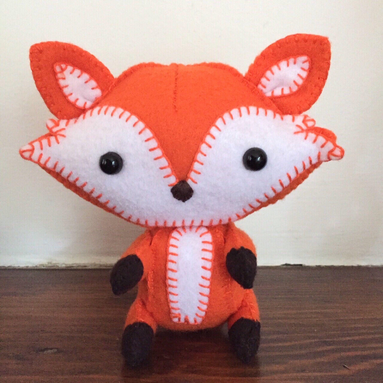 Wool felt fox / stuffed fox /plush fox toy / orange fox / fox ...