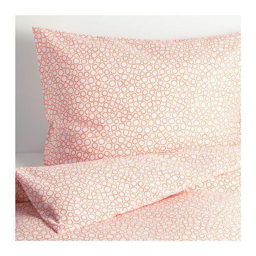 Ikea Duvet Cover And Pillowcase White Orange Circles Tradaster