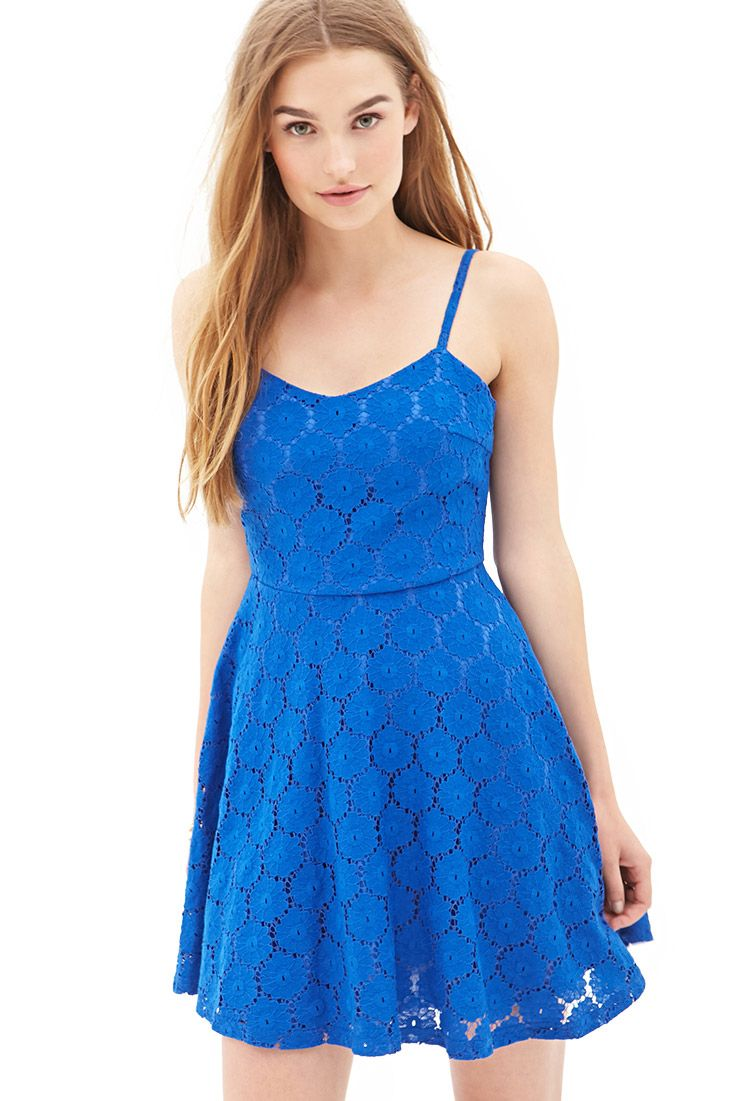 Floral Crochet A-Line Dress   FOREVER21 - 2055880162