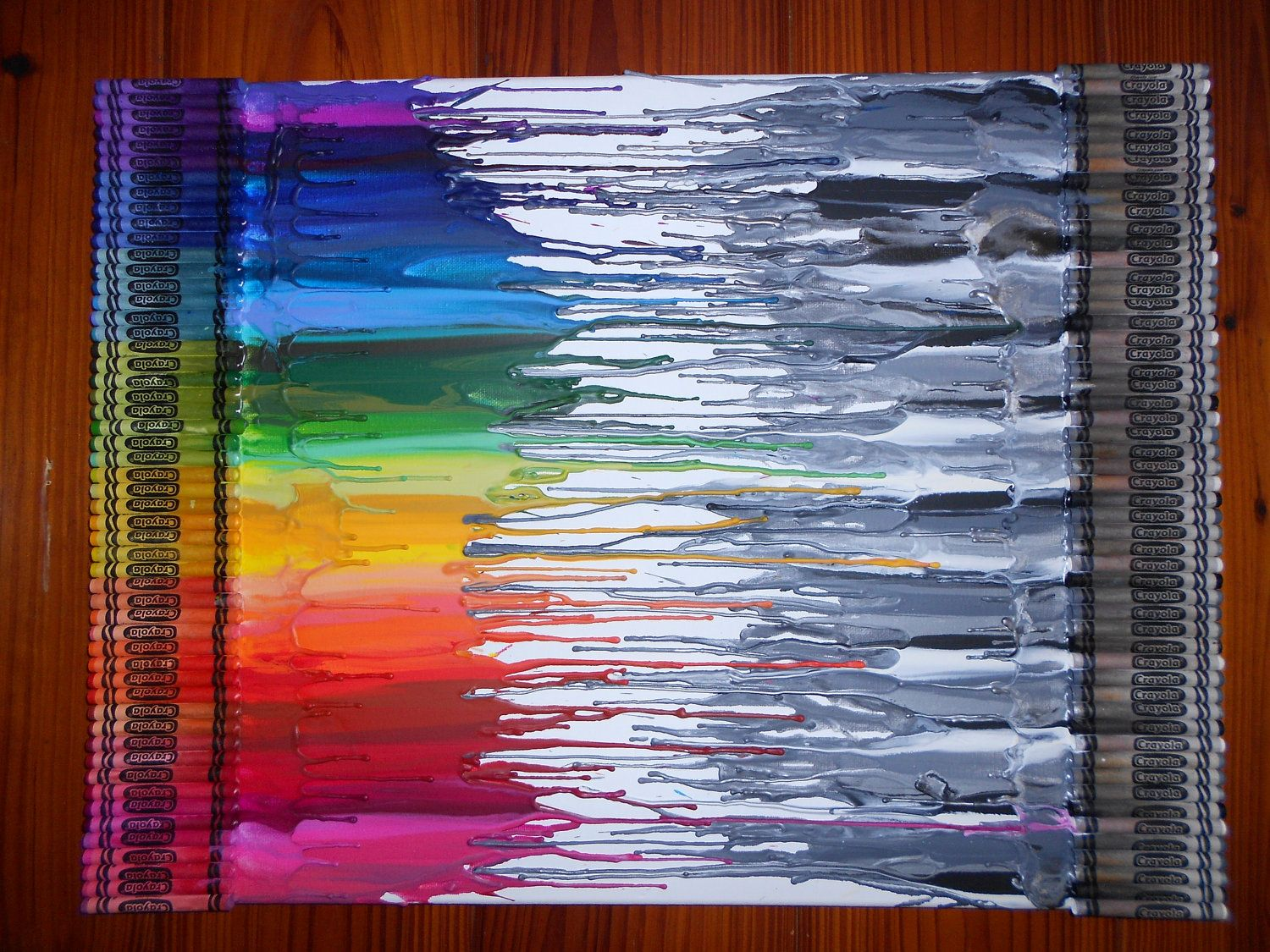 color crayon art : Black White Vs Color Melted Crayon Art