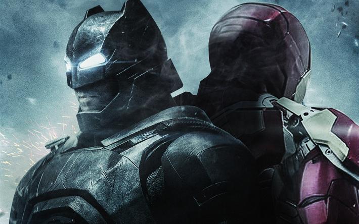 Download Wallpapers Iron Man Batman 4k Superheroes Art Ironman Besthqwallpapers Com Batman Superhero Iron Man