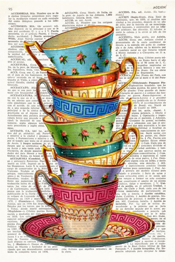 STACKING TEA CUPS Dictionary Art, Stacked tea cups, Vintage tea cups, Tea cup, kitchen wall art, Kitchen Print, Wall Decor, tea art, #155 #teacups