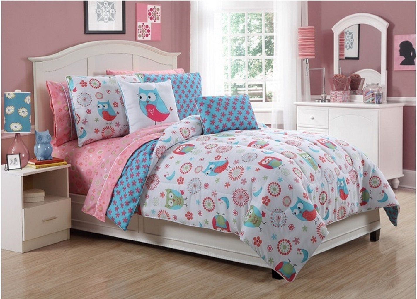 Amazon Com Vibrant Flowers And Owls Bed In A Bag