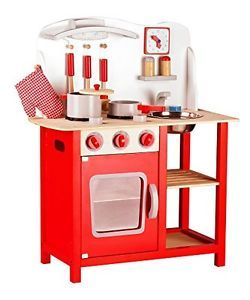Leomark Kids Wooden Kitchen Wood Toy Childrens Role Play Pretend