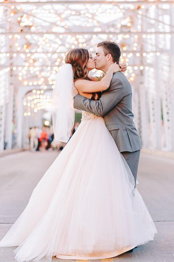 Blush Lazarro wedding dress | Photo by Annabella Charles Photography | Read more - http://www.100layercake.com/blog/?p=73999