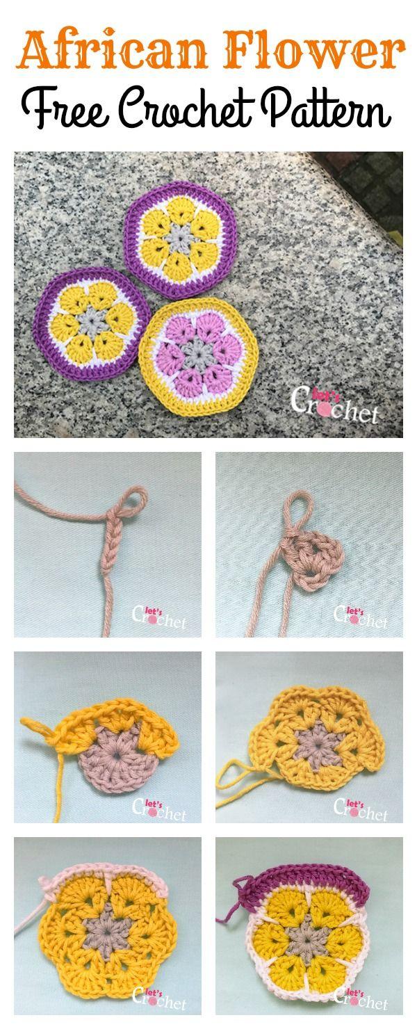 African Flower Free Crochet Pattern | Crochet | Pinterest | Flores ...