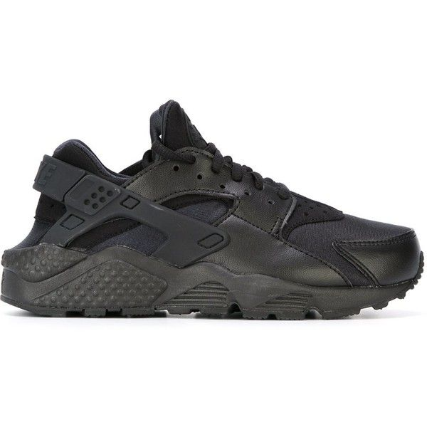 detailed look c88cb 07672 Nike Air Huarache Run Sneakers ( 120) ❤ liked on Polyvore featuring shoes,  sneakers, black, round toe sneakers, leather sneakers, nike, leather lace  up ...