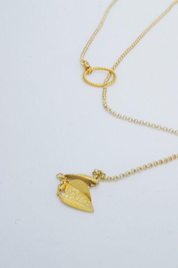 Gold lariat necklace 16k plated chain gold leaf by 3DaintyThings, $23.00