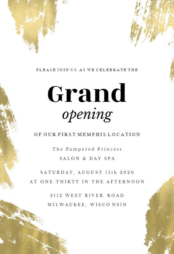 Brush Strokes Grand Opening Invitation Template Free Greetings Island Grand Opening Invitations Shop Opening Invitation Card Grand Opening