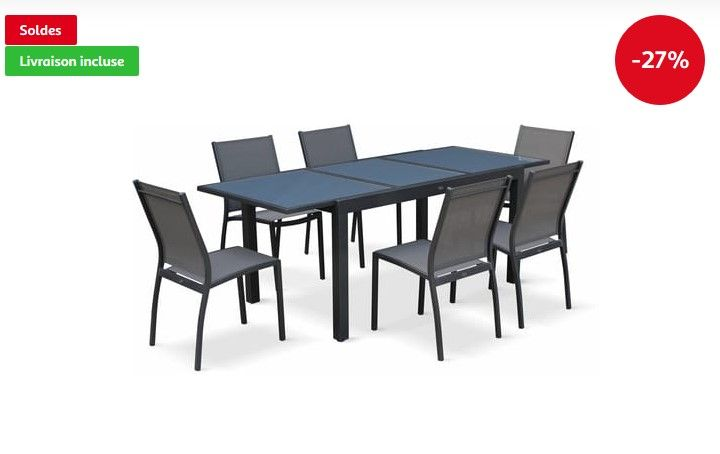 Salon de jardin table extensible Orlando pas cher - Soldes ...