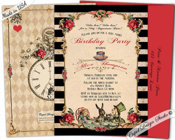 alice through the looking glass birthday invitations/mad hatter, Birthday invitations